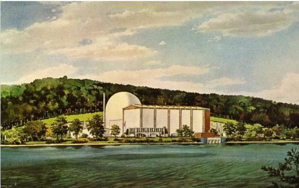 Artist's rendering of the Connecticut Yankee Power Company Plant