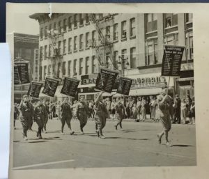 Boy Scouts carrying World War I banners