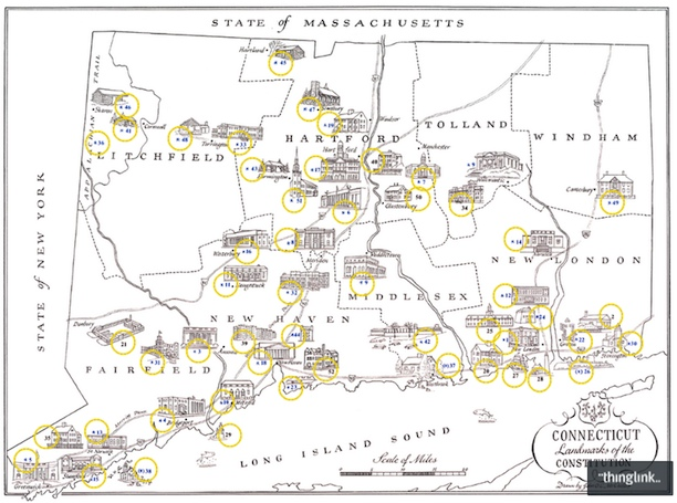 Map – Connecticut Landmarks of the Consution | Connecticut ... In Connecticut Map on