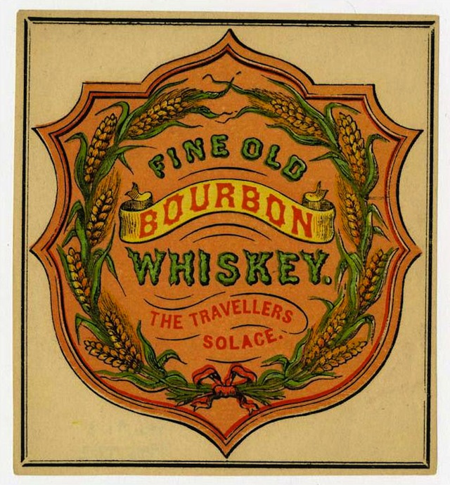 Advertising label for Fine Old Bourbon Whiskey, 1855
