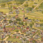 Detail from the bird's-eye map Bristol, Conn. Looking North-East, 1889