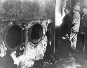 The trash chute where the fire originated. Source: The Hamilton Archives at Hartford Hospital.