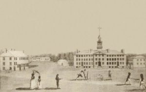 A front view of Dartmouth College, with the Chapel, & Hall