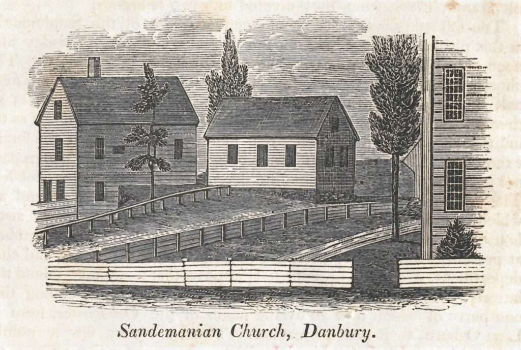 "Danbury's Sandemanian meeting house, built in 1798 next door to the ""eating house,"" on a rise above Main Street."