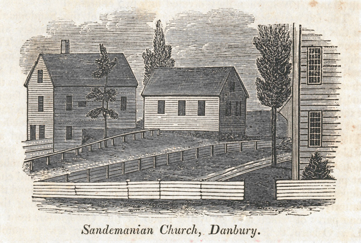 """Danbury's Sandemanian meeting house, built in 1798 next door to the """"eating house,"""" on a rise above Main Street."""
