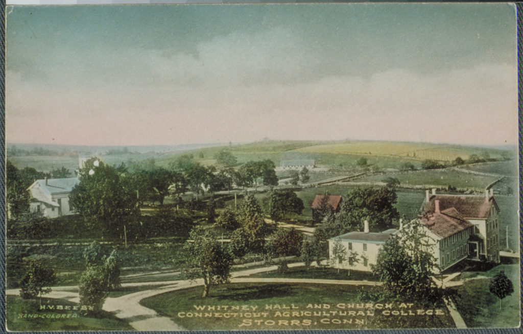 View of Old Whitney Hall (foreground) and the Storrs Congregational Church