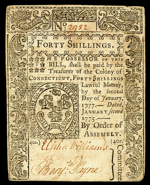 Colonial currency from Connecticut Colony. Signed by Elisha Williams, Thomas Seymour, and Benjamin Payne